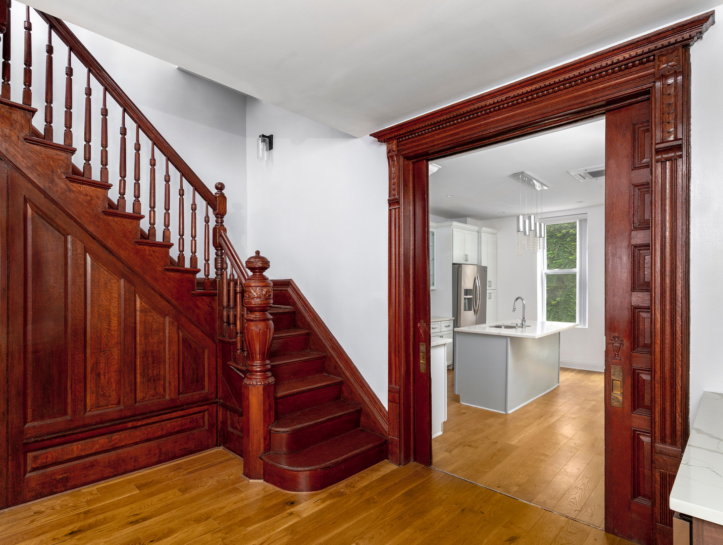 Real Estate Photo of a brownstone staircase in New York City.