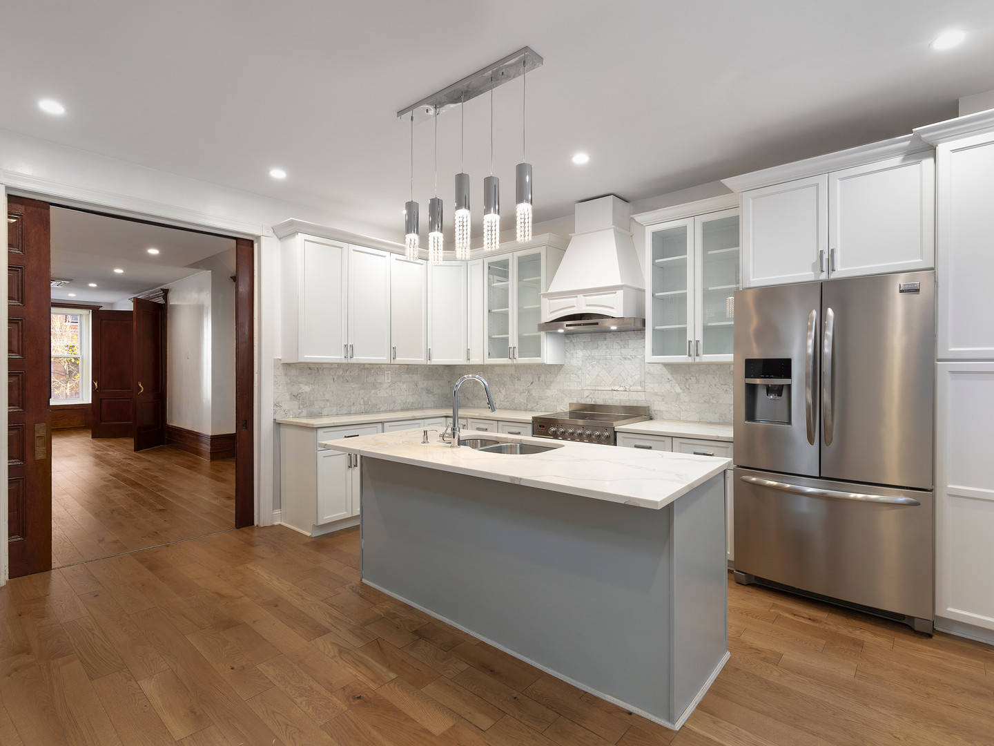 Real Estate Photo of a brownstone kitchen in New York City.