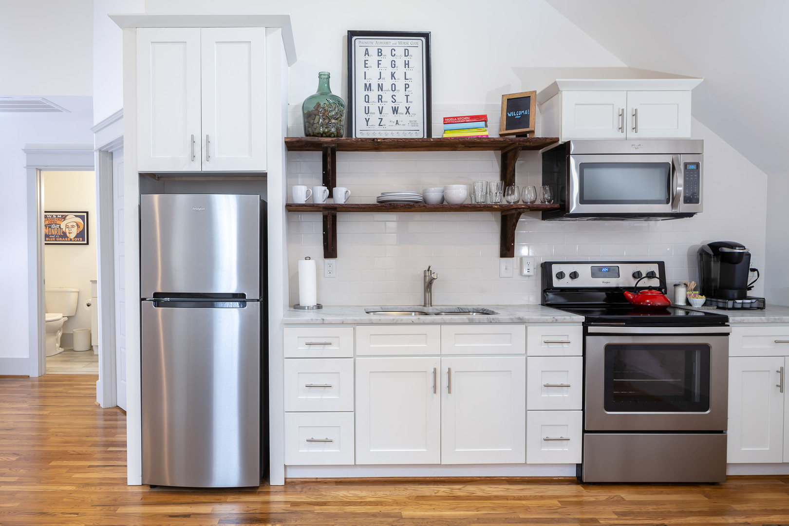 Real Estate Photo of effecient kitchen in New York City.