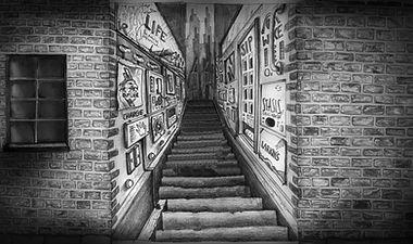 pencil drawing of future scape alleyway