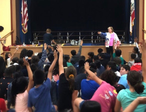 Donna Mayhew speaks with the students at Ranchito Elementary