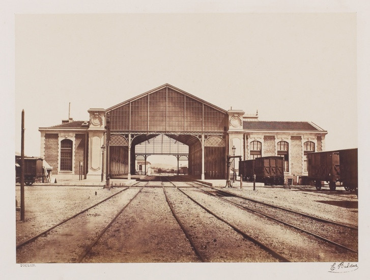 photo image of a French train depot