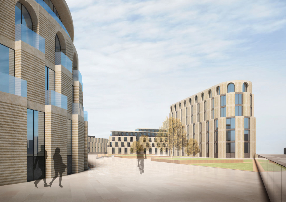 Визуализация архитектурного облика квартала с эксплуатируемого стилобата