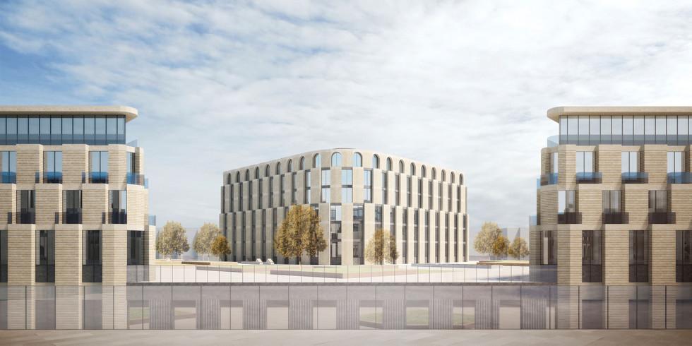 Визуализация архитектурного облика квартала, монументальная центричная композиция в современном прочтении - актуальная контексту Санкт-Петербурга