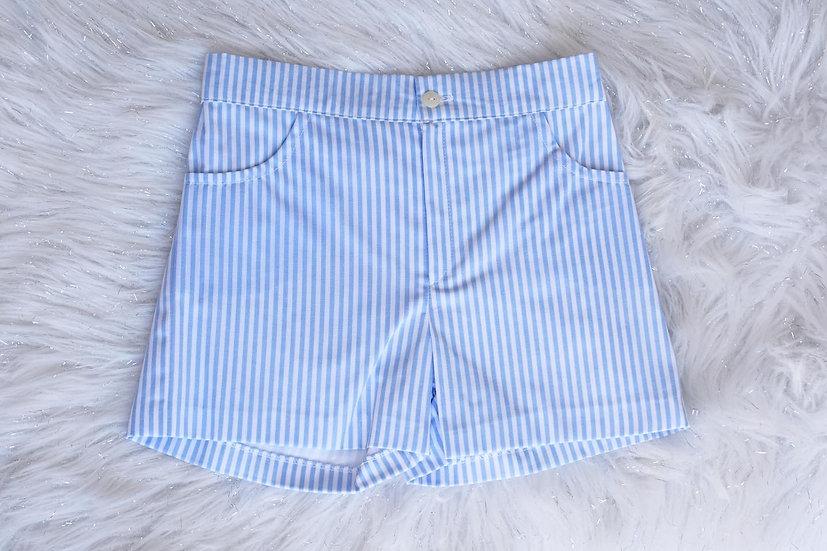 Blue Wide Stripe Shorts