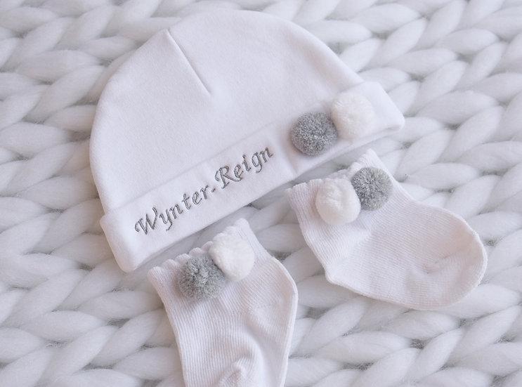 Personalised Grey / White Pom Pom Hat and Socks
