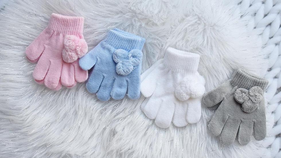 Pom Pom Knit Gloves