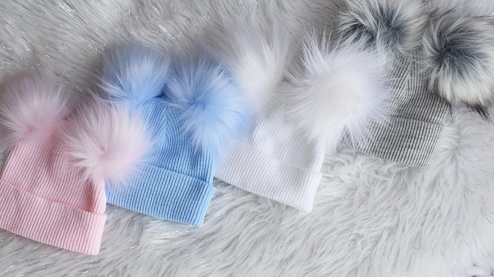 Double Pom Faux Fur Knit Hat (3mth - 12mth)