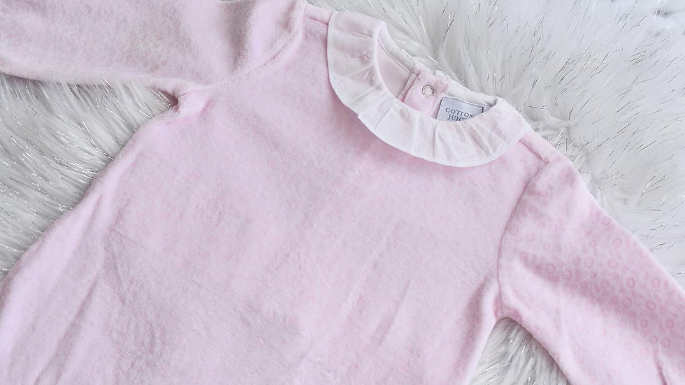 Toddler Pink Velour Sleepsuit