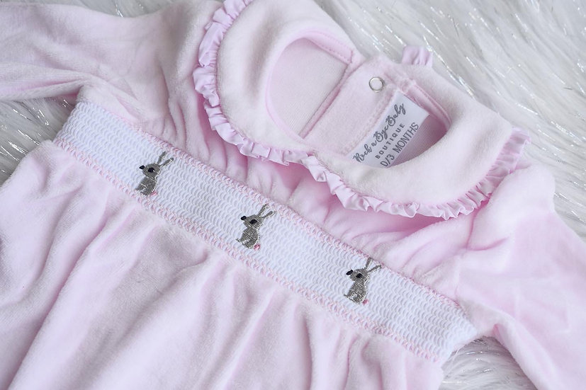 Baby Bunny Smocked Velour Sleepsuit