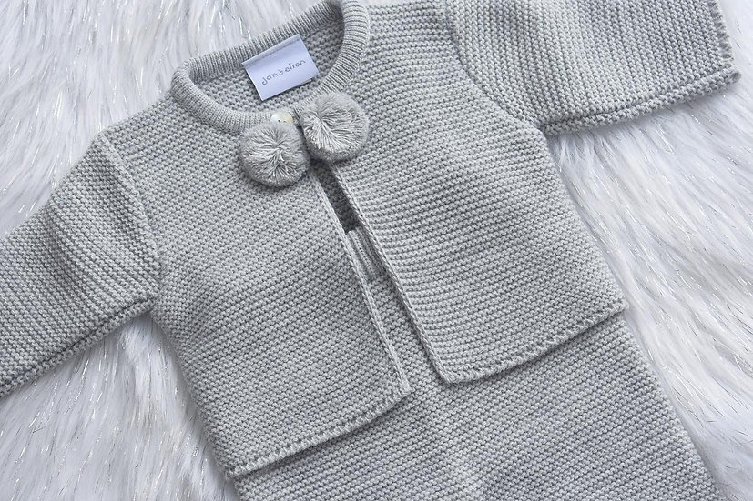 Grey Pom Pom Knit Set