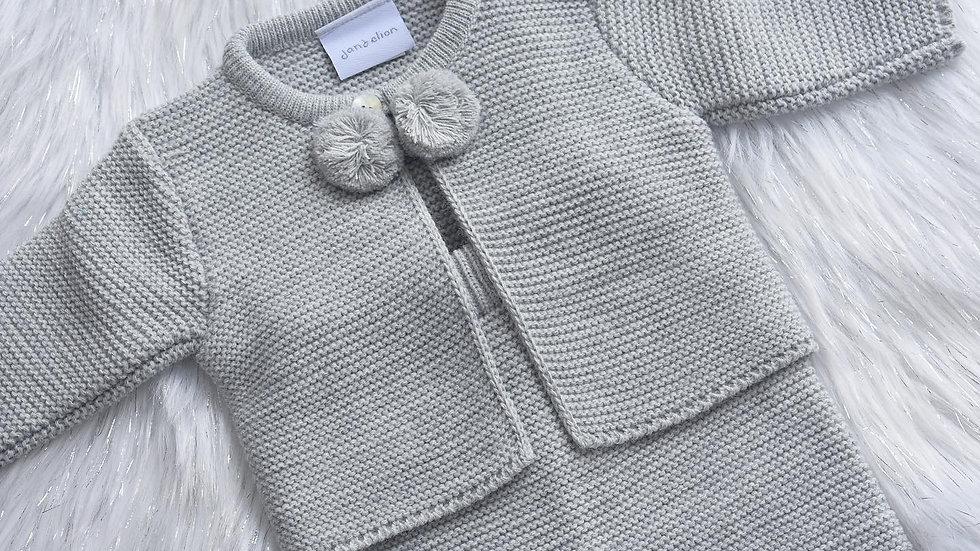 Grey Pom Pom Knit Set