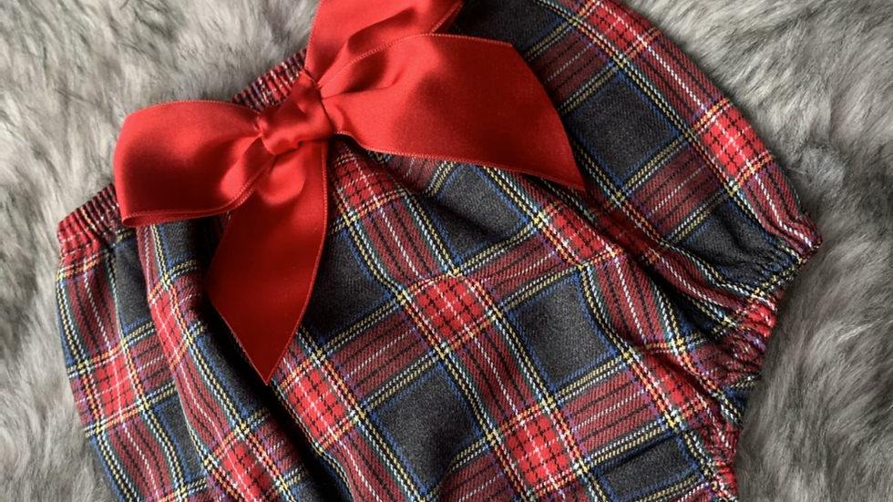 Tartan and Satin Bow Bloomer