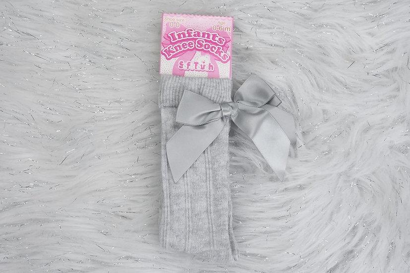 Grey Knee High Bow Socks
