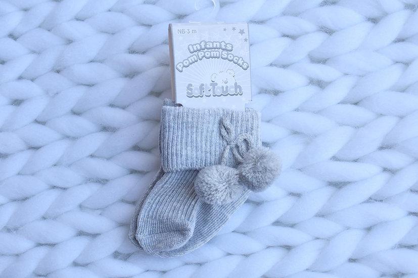 Grey Pom Pom Socks - Ankle