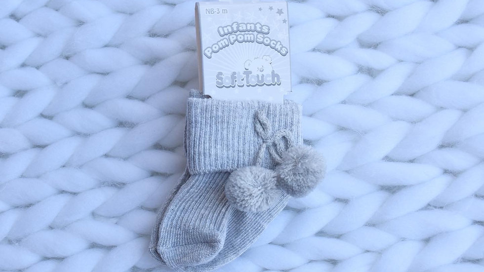 Grey Pom Pom Socks - Ankle