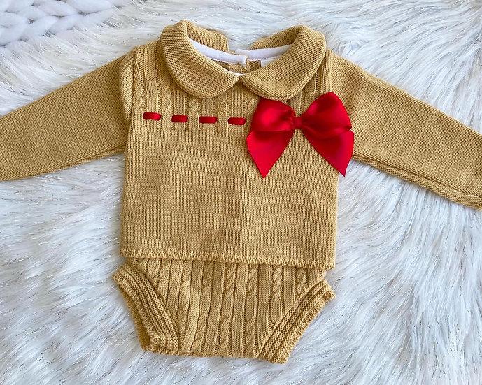 Caramel Gold Knit Bow Set