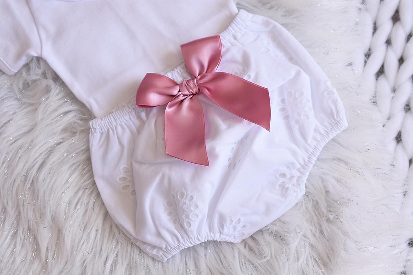 Dusky Pink Broderie Bloomers