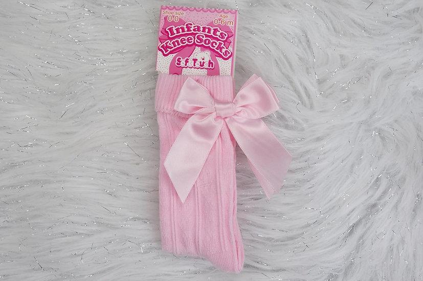 Pink Knee High Bow Socks