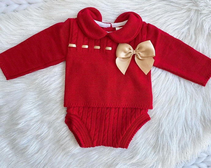 Red Knit Bow Set