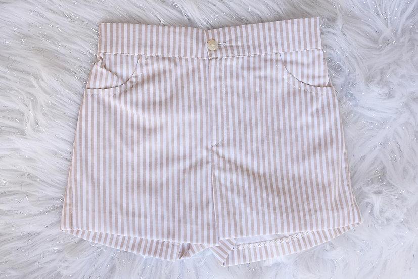 Camel Wide Stripe Shorts