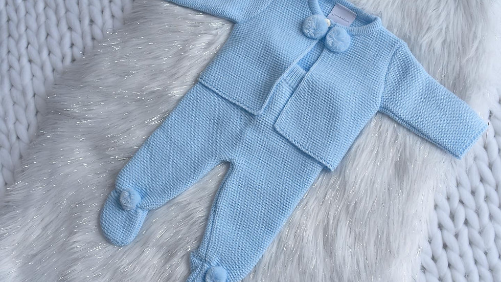 Blue Pom Pom Knit Set