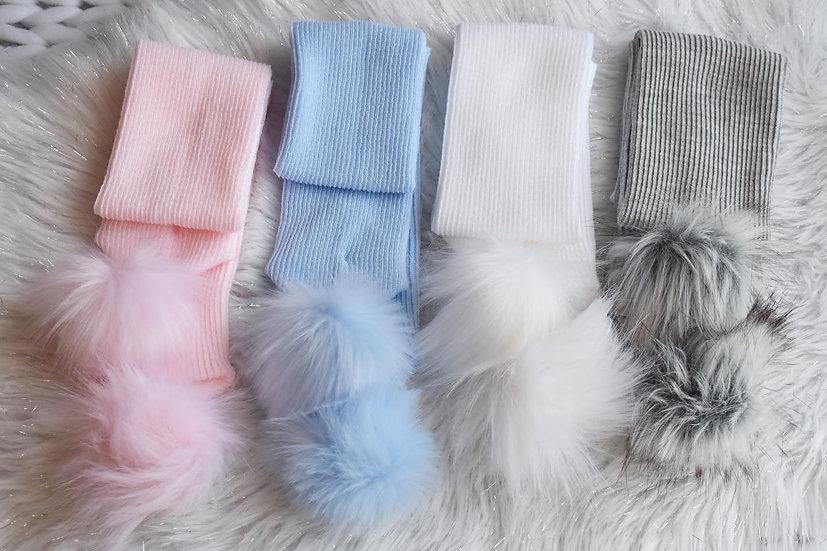 Double Pom Faux Fur Knit Scarf
