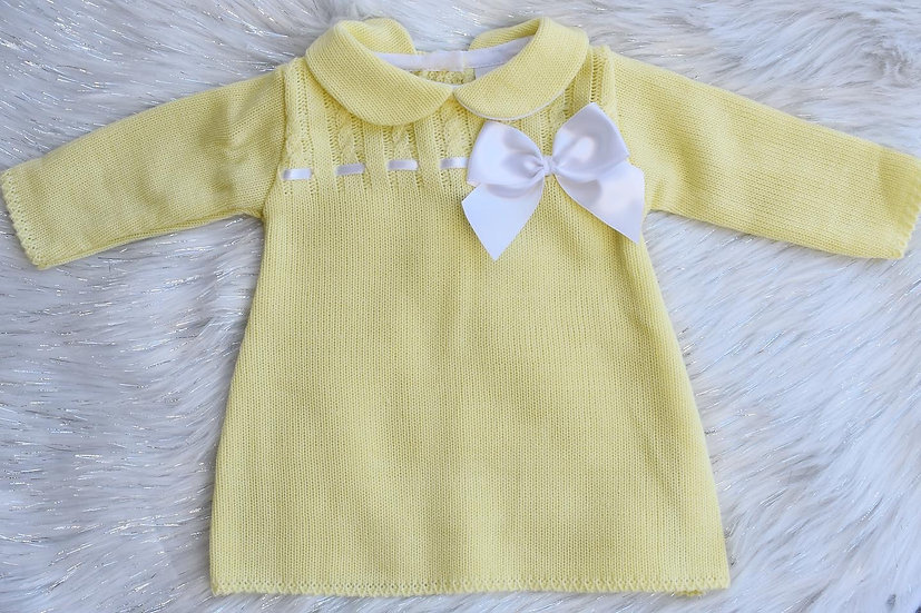 Lemon Knit Bow Dress