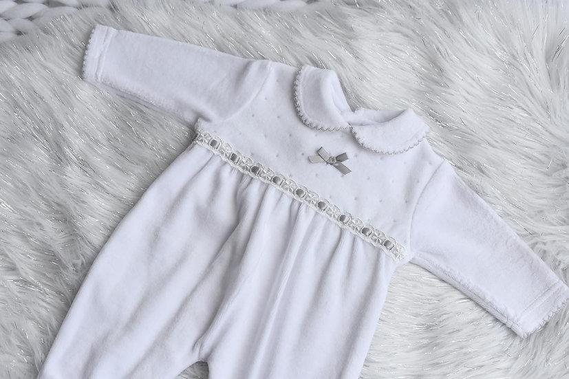 Baby Snowy Velour Sleepsuit