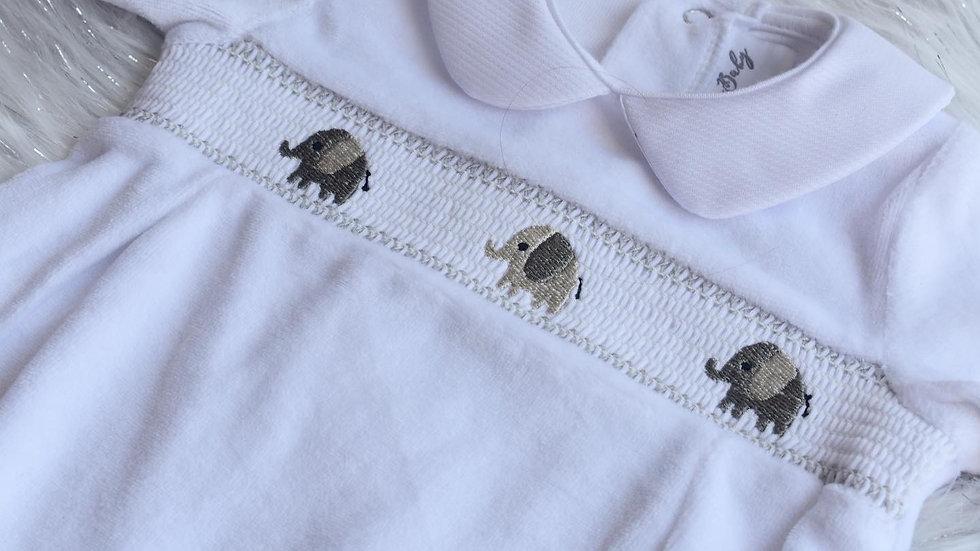 Elephant Smocked Velour Sleepsuit