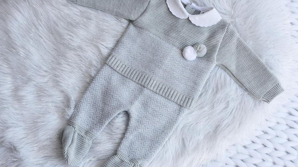 Grey Pom Knit Set