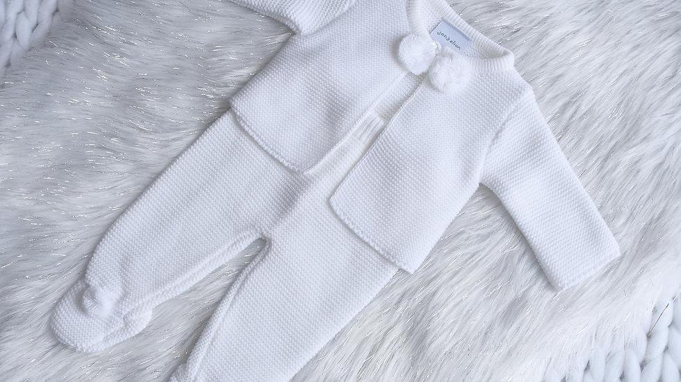 White Pom Pom Knit Set