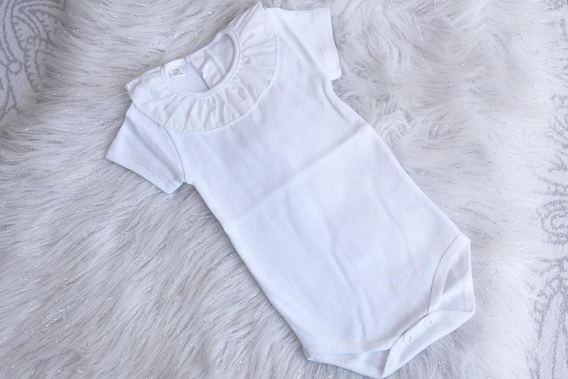 White Trim Frill Neck Bodysuit