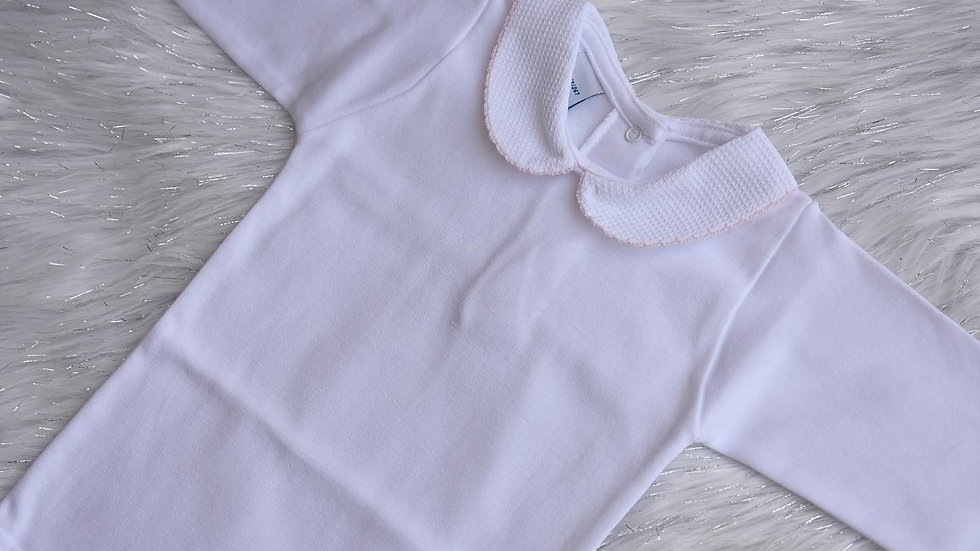 Pink Trim Peter Pan Collar Long Sleeve Bodysuit