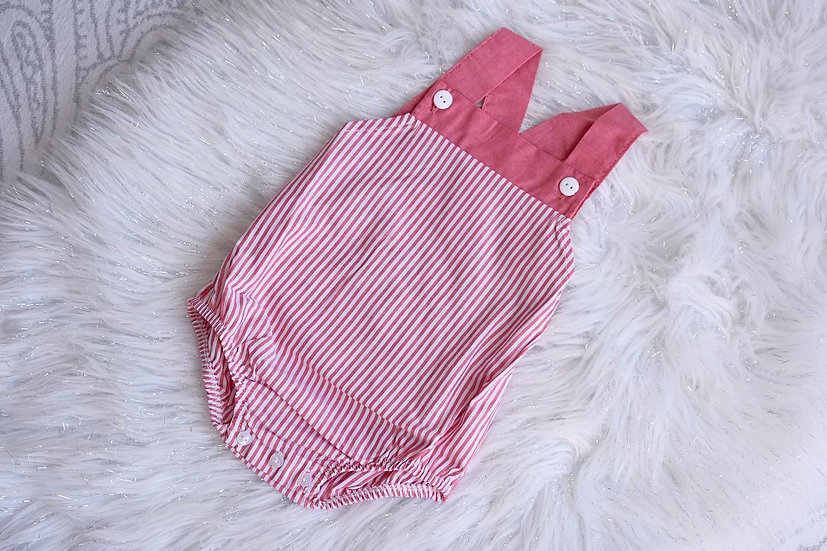 Red Stripe Bow Dungarees (Small Sizing)