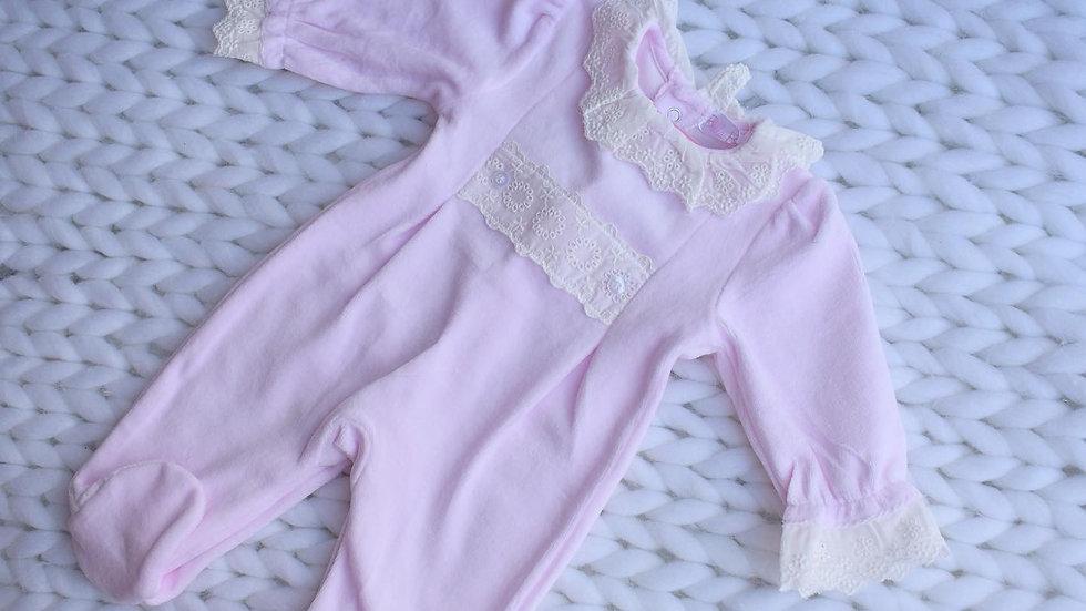 Mya Traditional Pink Velour Babygrow