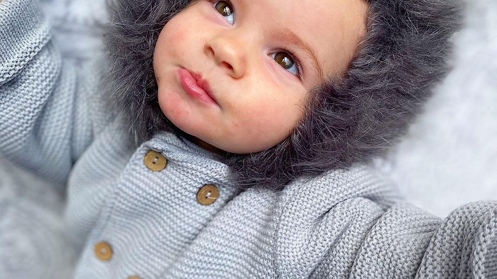 Classic Grey Faux Fur Knitted Jacket