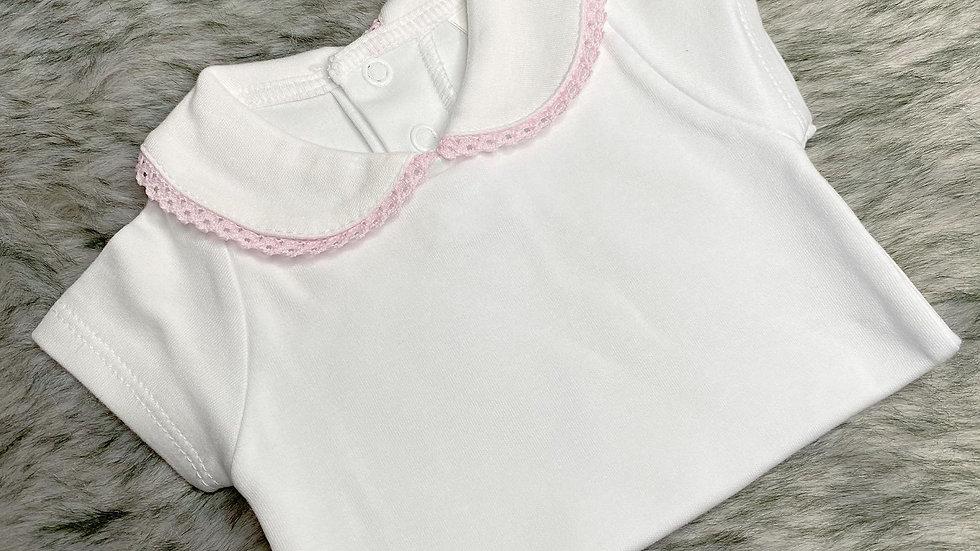 Pink Trim Peter Pan Short Sleeve Bodysuit