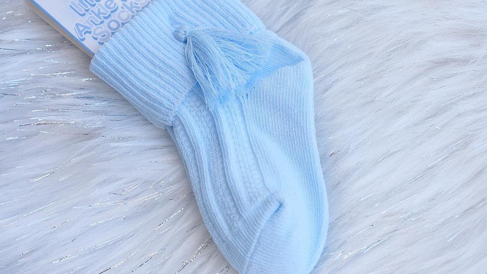 Blue Ankle Tassel Socks