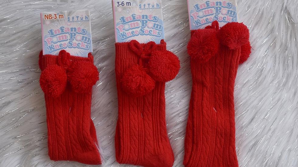 Red Knee High Pom Pom Socks (Infant)