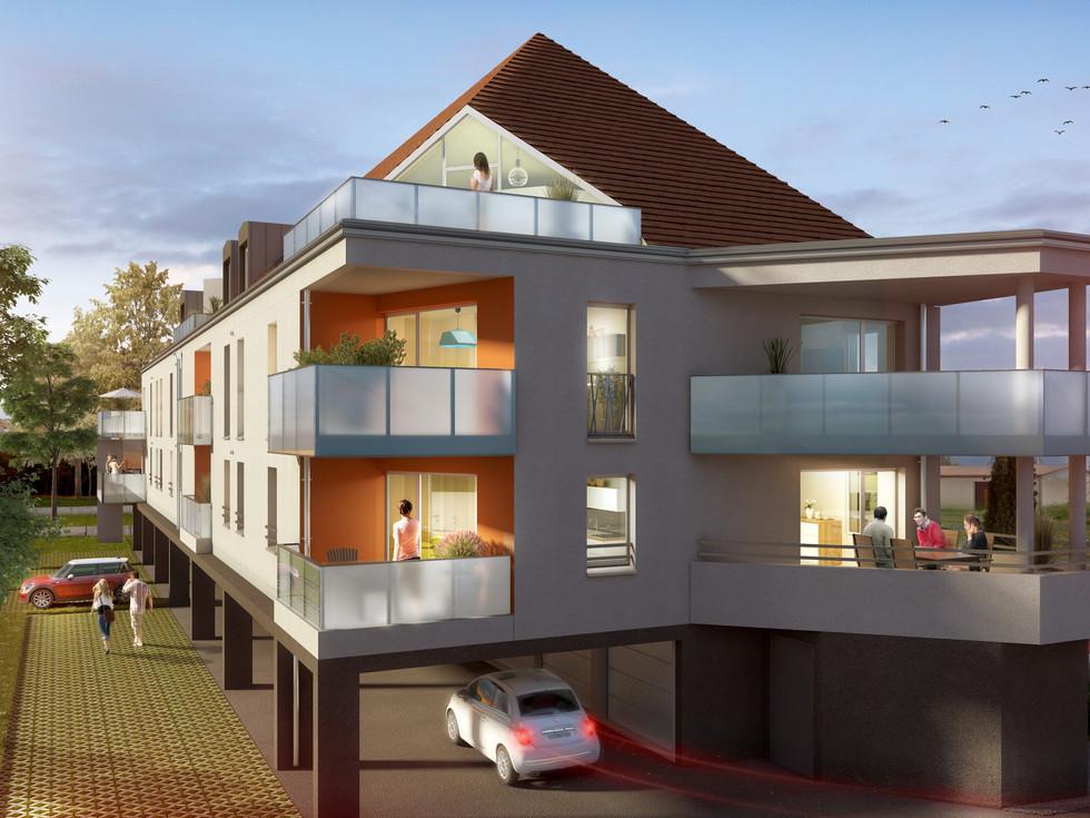 vue extérieure immeuble conçu par Toniutti à Colmar