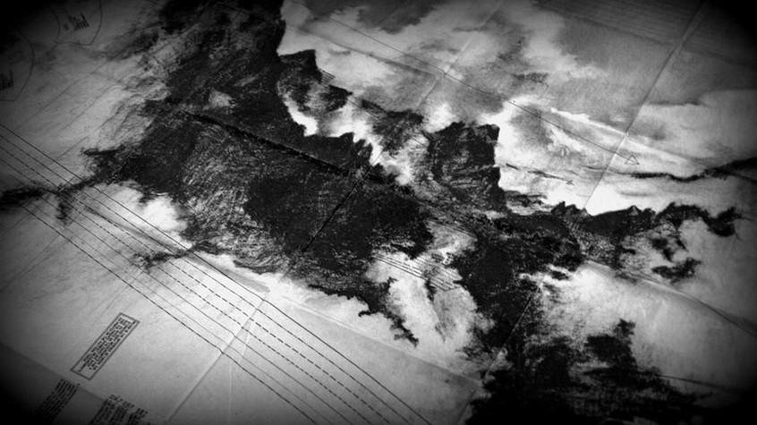 dessin d'une montagne AUTOPORTRAIT - SÉRIE DE 6DESSINS -2009  Techniques mixtes,plans de mode, 120 x 160 cm     Exposition personnelle : « Du Passage à l'Acte », La Chapelle desTempliers, Saint Aubin des Châteaux, Loire Atlantique, 2016