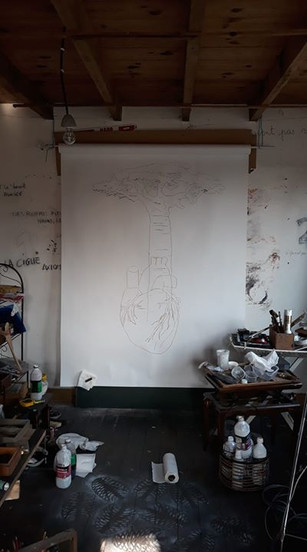 TOUS LES ARBRES DE MON CORPS - SERIE -2019 - 2020  10 dessins, techniques mixtes, 150 x 200 cm chacun  