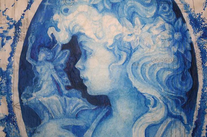 dessin d'une Muse à l'aquarelle / AUTOPORTRAIT - SÉRIE DE 6DESSINS -2009  Techniques mixtes,plans de mode, 120 x 160 cm     Exposition personnelle : « Du Passage à l'Acte », La Chapelle desTempliers, Saint Aubin des Châteaux, Loire Atlantique, 2016
