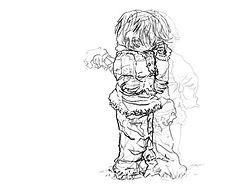 dessin en noir et blanc d'une petite fille