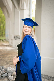 Woman wearing a blue Graduation Robe