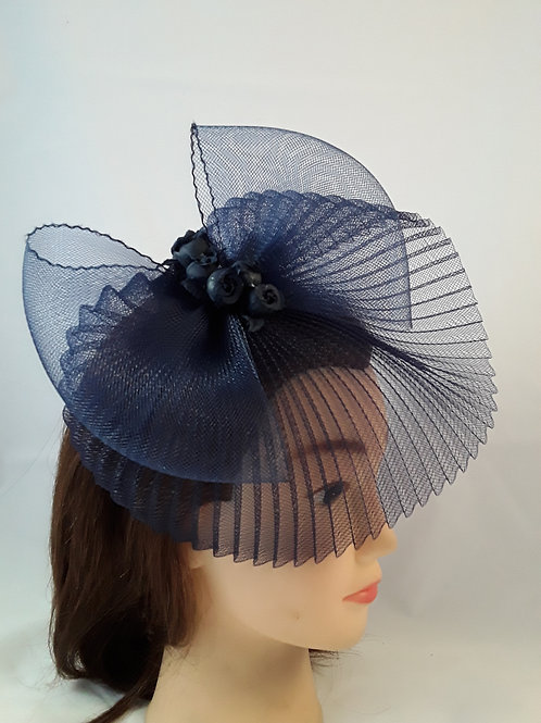 CassyD Royal Blue Pleated Fascinator