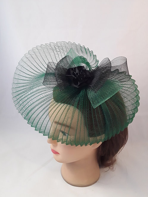 CassyD Pleated Green & Black Fascinator
