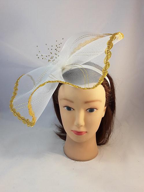 CassyD Gold & White  Fascinator