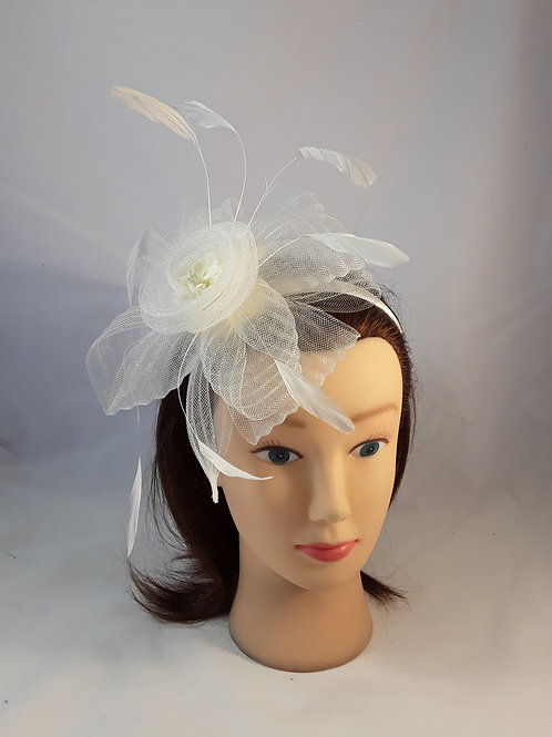 CassyD Ivory Feather Fascinator